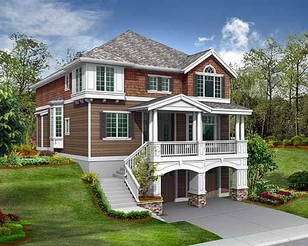 Plan 2357jd For The Front Sloping Lot Plan Plan