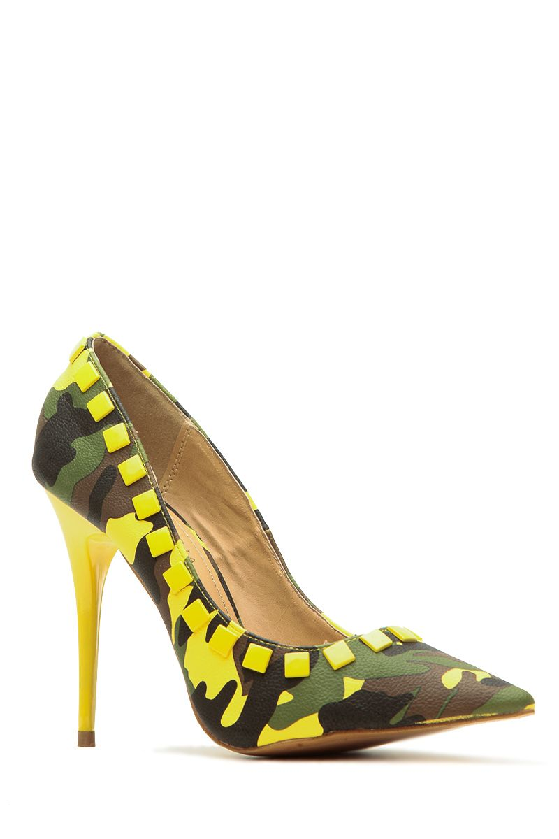3e1e84fb4f535 Spring It Foward Yellow Faux Leather Camouflage Pointy Toe Pumps ...