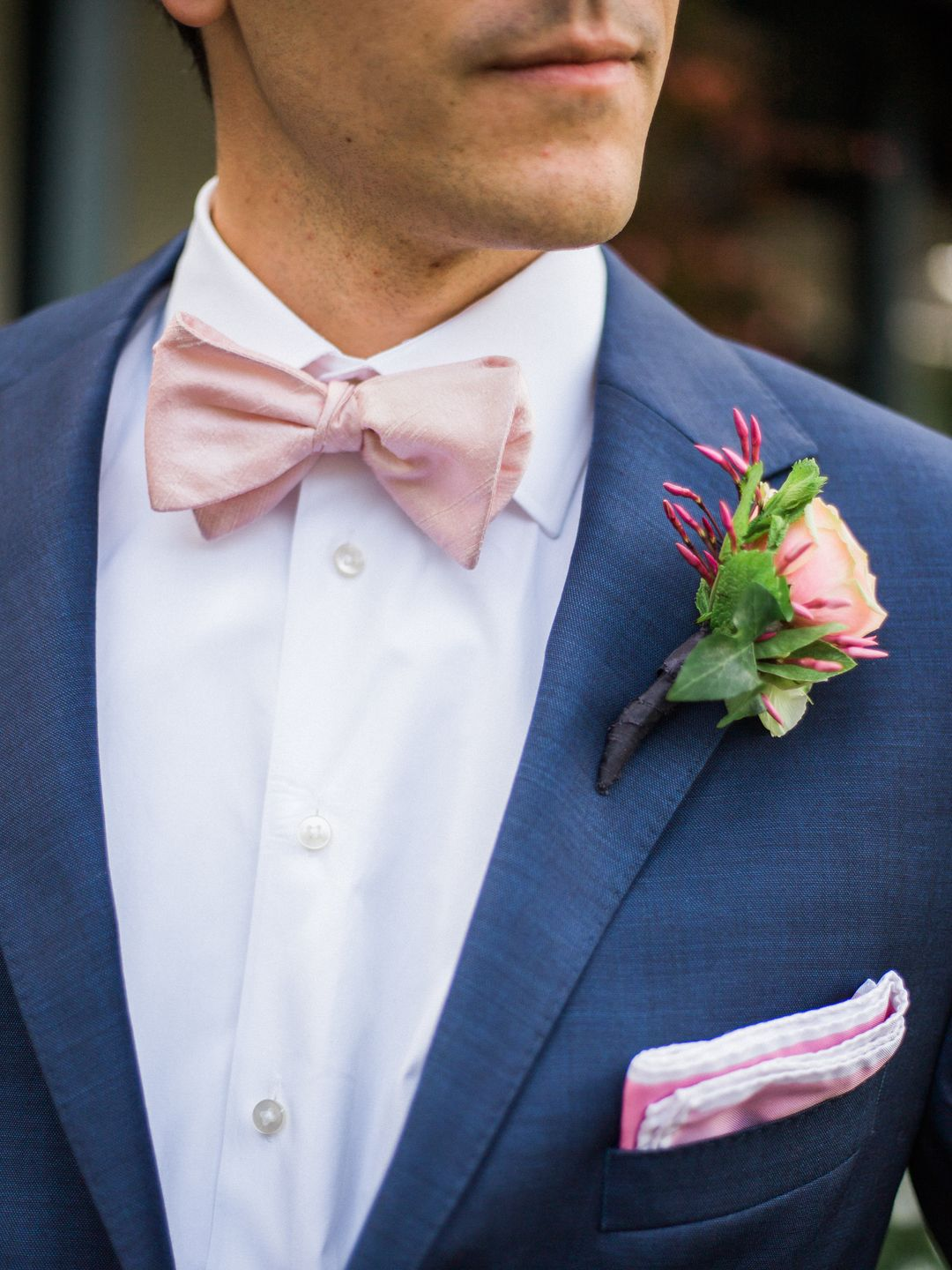 Preppy Wedding Fashion Groom Attire Pink Bow Tie And Pocket Square Blue Suit Pink Floral Bout Follo Blue Tuxedo Wedding Best Wedding Suits Groom Blue Suit