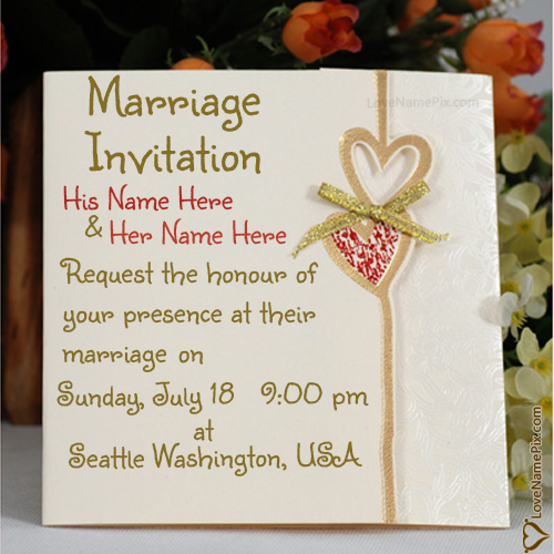 Write Name On Marriage Invitation Cards