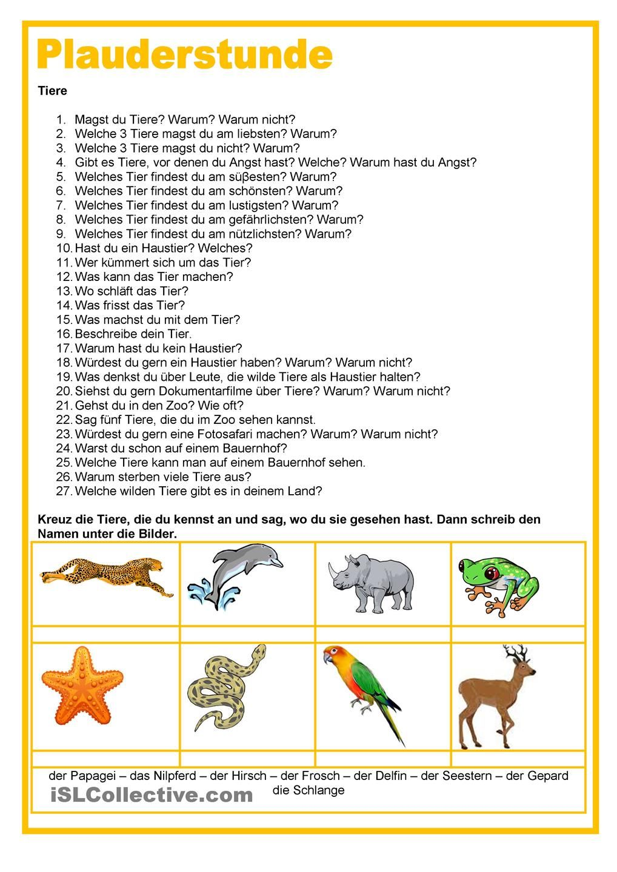 Plauderstunde - Tiere | Deutsch, Tier und Schule