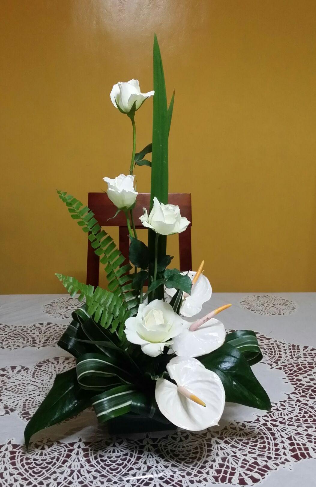 Elegance White Roses Flower Arrangements White Anthurium My Arrangement Of R Flower Arrangements Simple Church Flower Arrangements Large Flower Arrangements