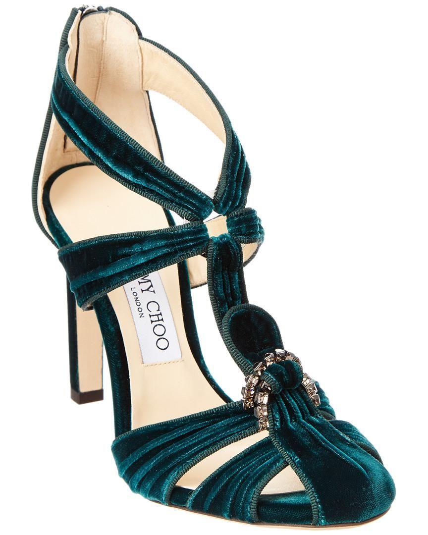 0f3ed86313 Jimmy Choo | Green Krissy 100 Crystal Embellished Velvet Round-toe Pump |  Lyst