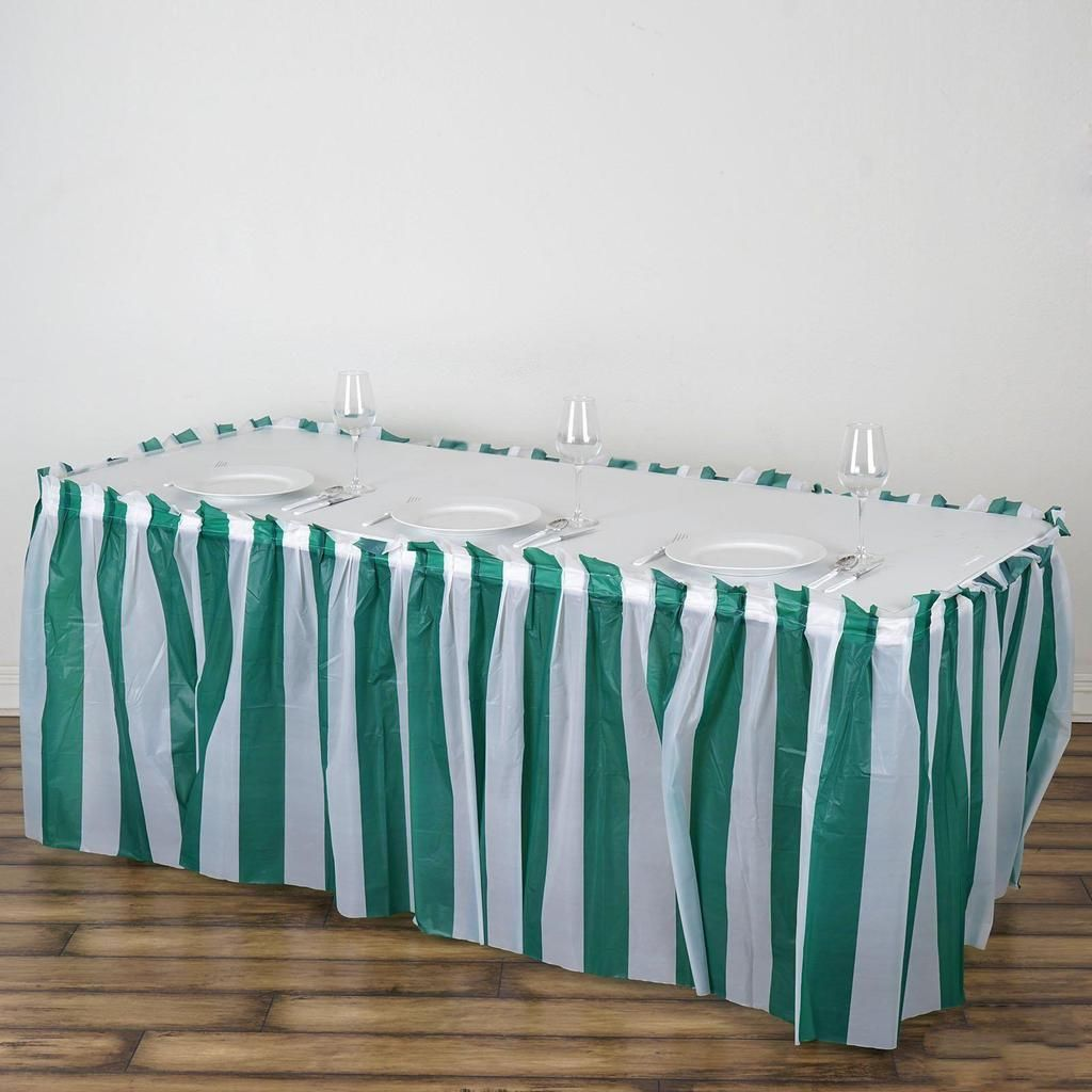 14ft 10 Mil Thick Stripe Plastic Table Skirts Disposable Table Skirt Spill Proof White Hunter Emerald Green Striped Table Table Skirt Stylish Tables