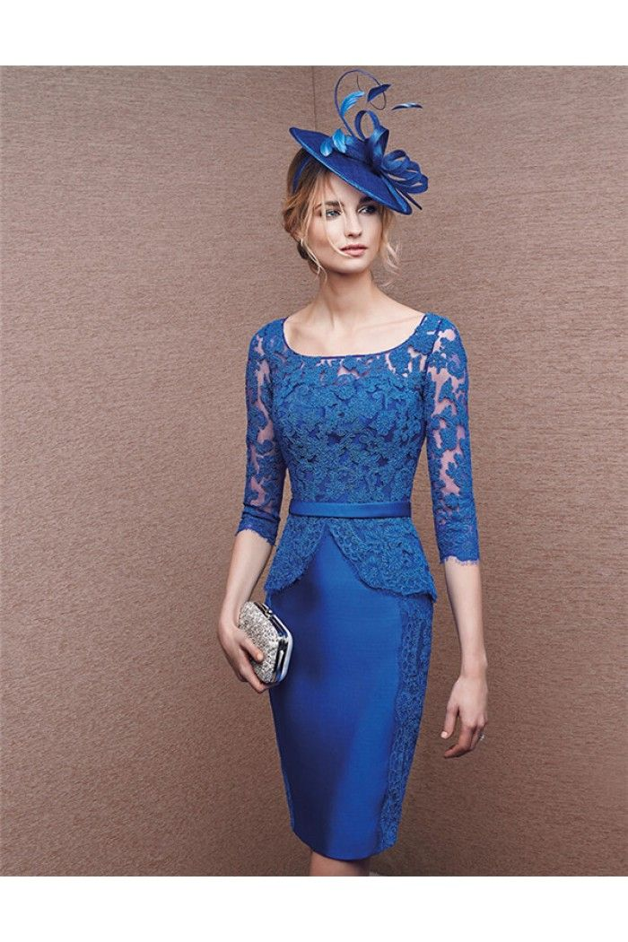 ad5476ab943 Sheath Column Short Royal Blue Satin Lace Peplum Evening Dress With Sleeves