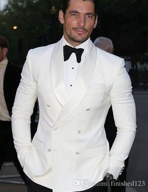 Fashionable Groom Tuxedos Groomsmen Ivory Shawl Lapel Best Man Suit ...
