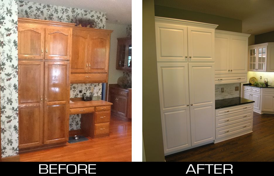 Painting Oak Cabinets Before And After Transformed From