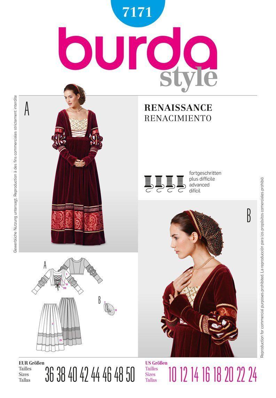 Burda 7171 - Renaissance para mujer patrón de costura para falda y ...