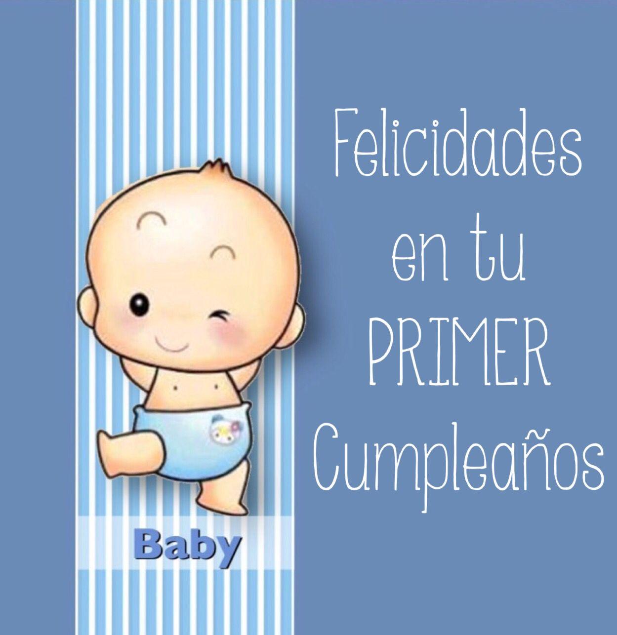 Felicidades En Tu Primer Cumpleaños Un Bebe En Azul Tarjetas