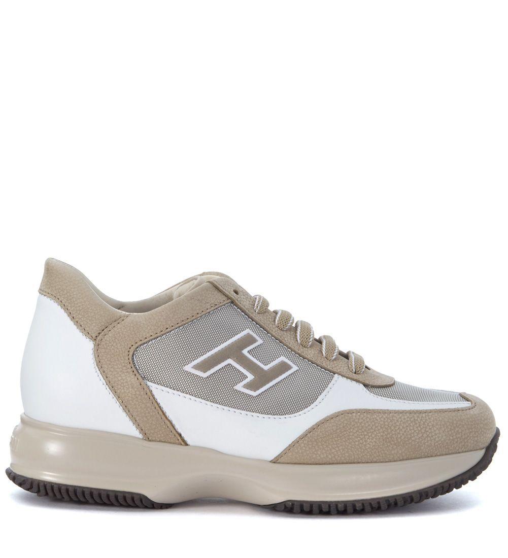 HOGAN INTERACTIVE WHITE BEIGE NABUK LEATHER SNEAKER. #hogan #shoes #