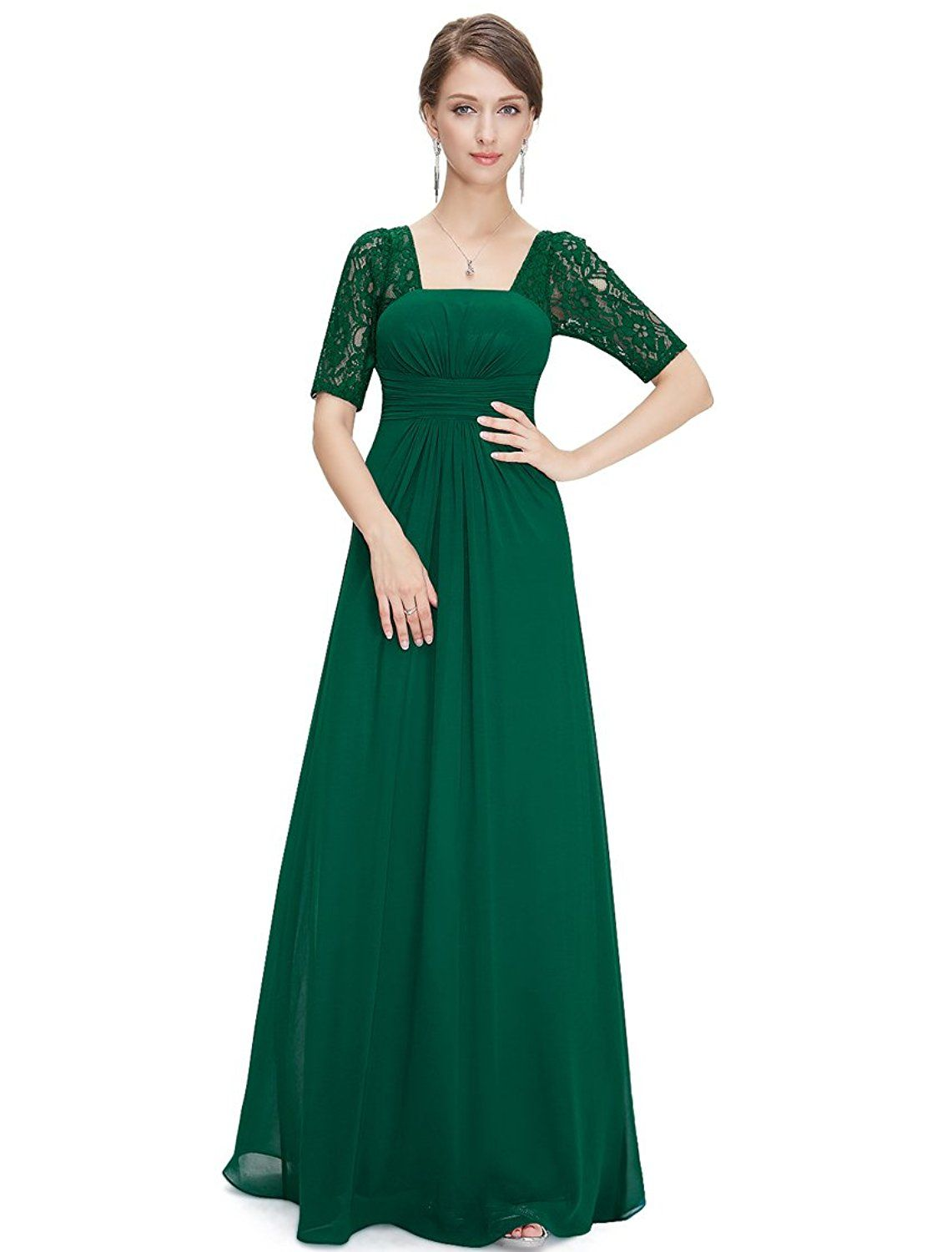 5dea51236d Ever Pretty Half Sleeve Square Neckline Ruched Waist Evening Dress 08038      Trust me