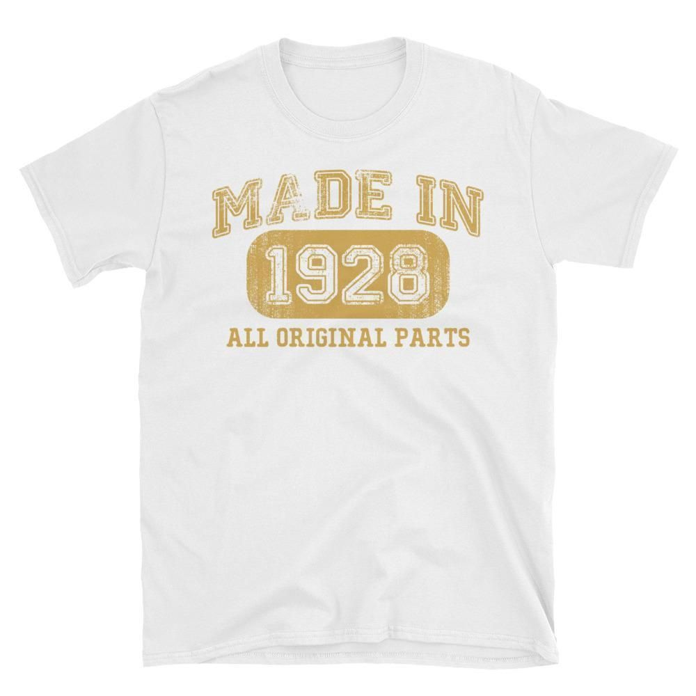 Made In 1928 All Original Parts T Shirt Gift Ideas For 90 Year Old Women Men