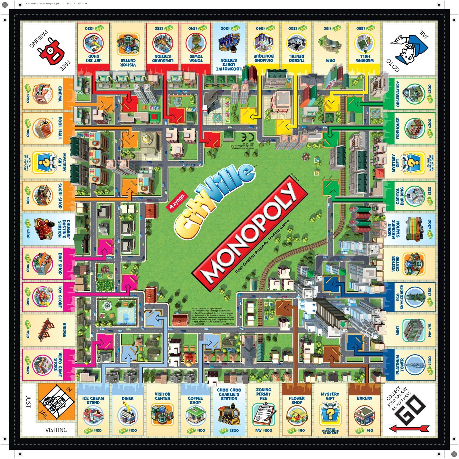 photo regarding Printable Board Games for Adults titled Hasbro Online games Cityville Monopoly - Free of charge Transport Monopoly