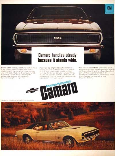 1967 Chevrolet Camaro SS original vintage ad.  Camaro handles steady because it stands wide. Available with either the 396 cu. in. 325 h.p. V8 or the 350 cu.in. 295 h.p. V8.