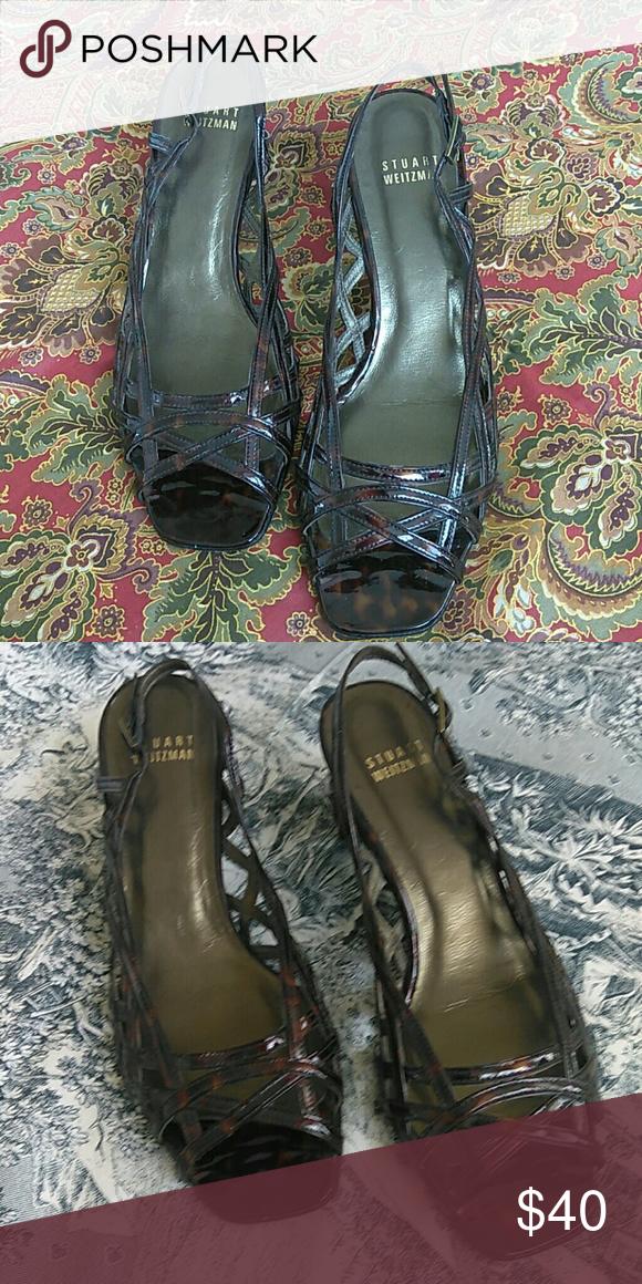 6e4b32568994 Stuart Weitzman tortoise shell heel sandals Stuart Weitzman brown patent  leather open toe size 7 m