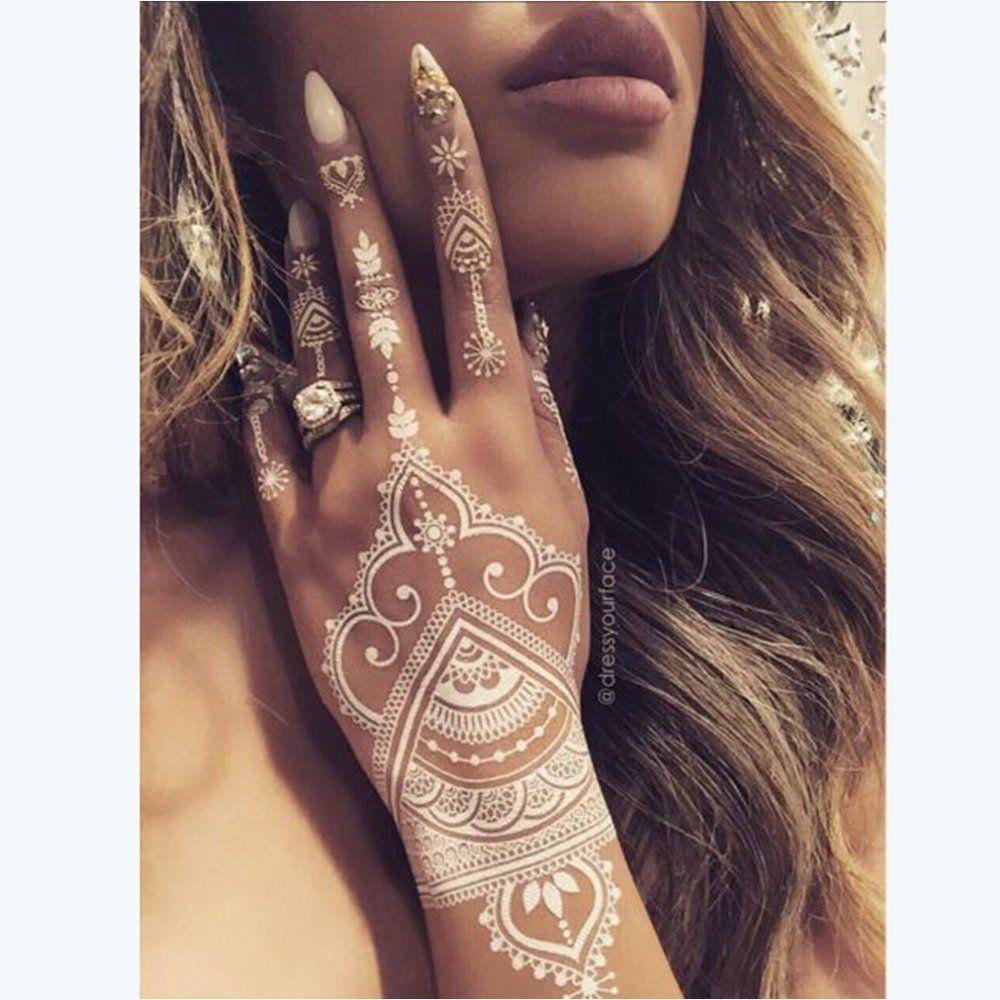 les plus beaux tatouages au henn blanc henn blanc henn et mains. Black Bedroom Furniture Sets. Home Design Ideas