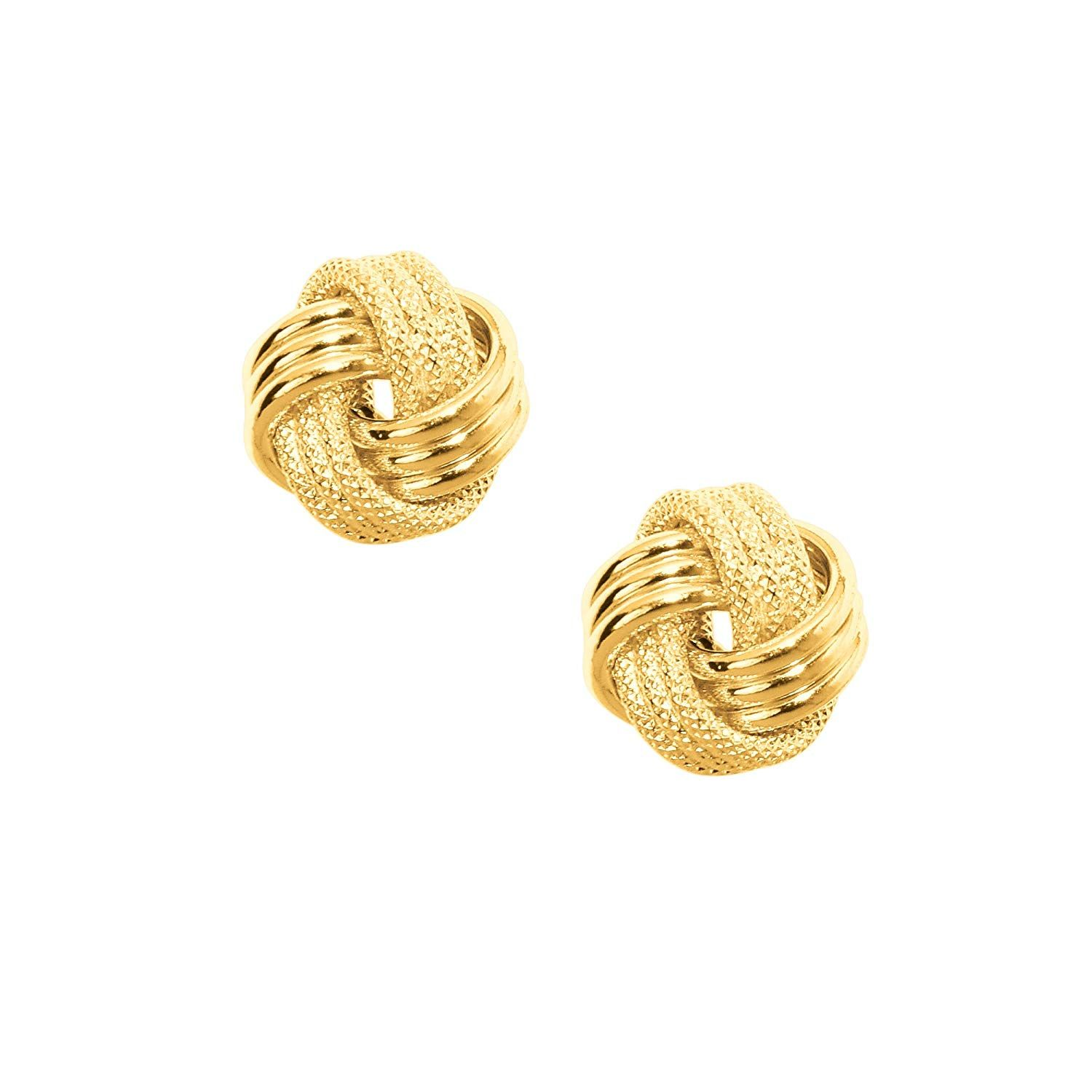 Mcs Jewelry 10 Karat Yellow Gold Triple Row Love Knot Earrings 9 Mm Diameter Knot Stud Earrings Gold Earrings Studs Stud Earrings