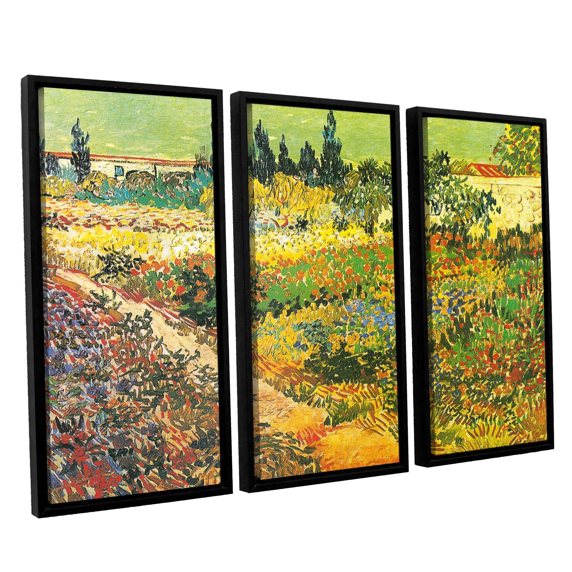 Flowering Garden by Vincent Van Gogh 3 Piece Floater Framed Canvas ...