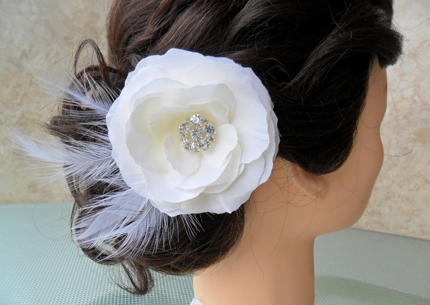 Riley Feathered White Hair Flower Or Dress Pin By Darlasblooms