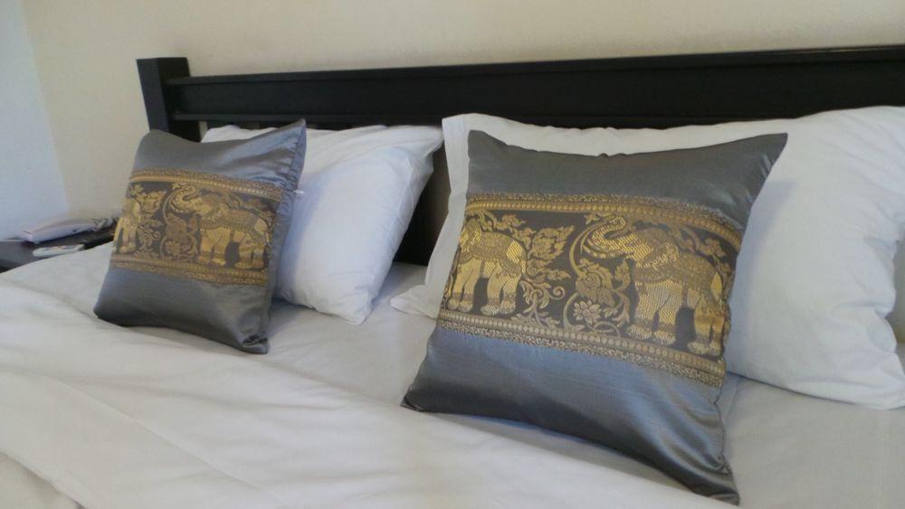 1 Piece Silver Gray Sofa Back Elephant Cushion Pillow Cover  16.5x16.5 Inches #Handmade