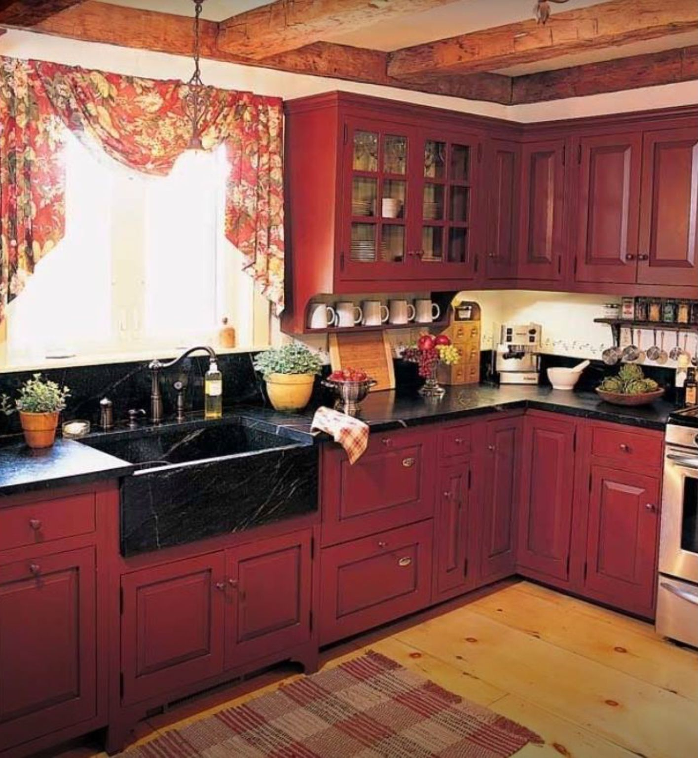 Pin By A R On Kitchen Red Kitchen Cabinets Rustic Kitchen Rustic Country Kitchen Decor