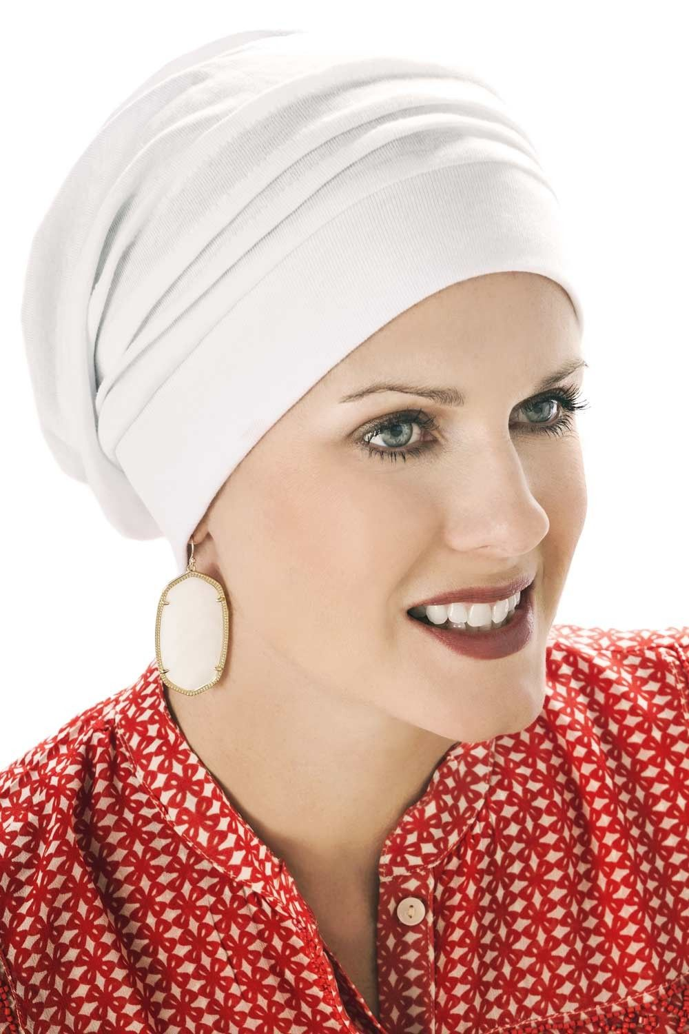 9df3bb94640 head coverings for cancer patients - chemo slouchy snood in white  chemohat   cancerhat