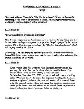 Veterans Day Scripts For Kids