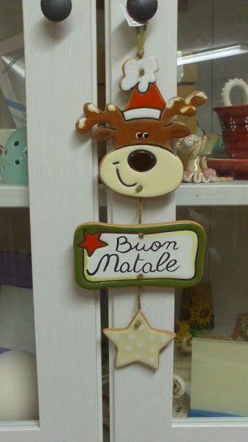 ceramica come mestiere: Decorazioni natalizie per fuori porta. Renna e bab...