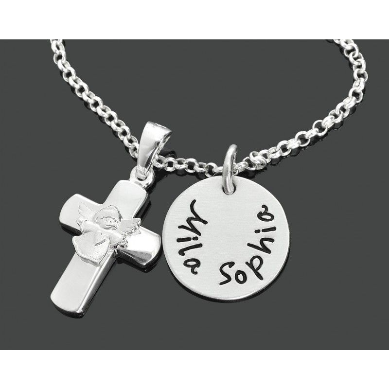 Taufkette Kreuz 925 Silber Gravur Geschenk Taufe Kommunion Silberkreuz Name