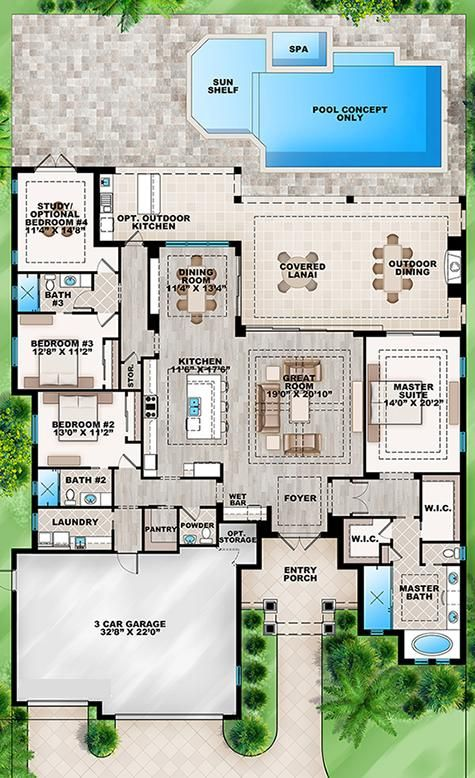 single-story, 4 split bedrooms or 3 beds/ study,35 bath, 3-car