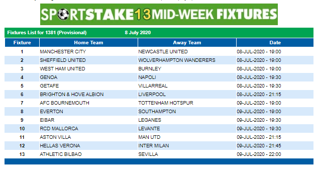 Sportstake 13 Midweek Fixtures 08 July 2020 Https Www Playcasino Co Za Sportstake Mid Week Fixtures Html In 2020 Online Lottery Weekend Fixtures