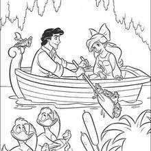 Ariel And Prince Eric On A Boat