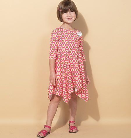 M7309 Children\'s/Girls\' Handkerchief-Hem Dresses | Girls dresses ...
