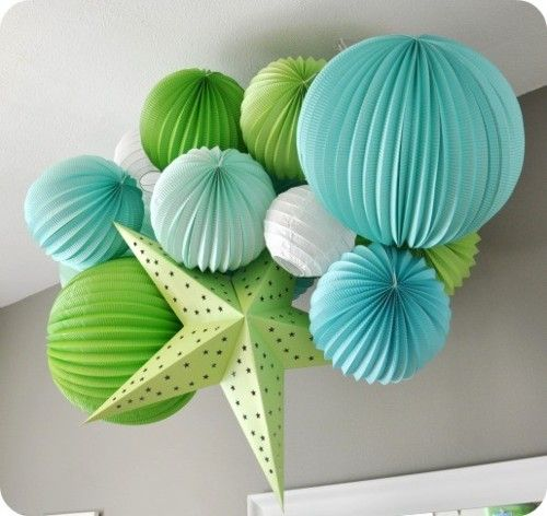 turquoise + chartreuse decorations