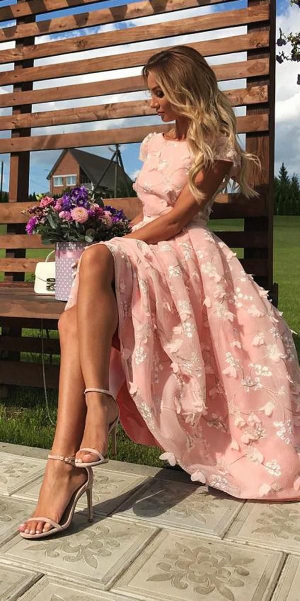 wedding guest dresses long with cap sleeves pink for spring elisabettafranchi