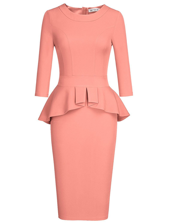 MUXXN Women's Crew Neck Peplum Knee Length Party Pencil Dress at Amazon  Women's Clothing store: