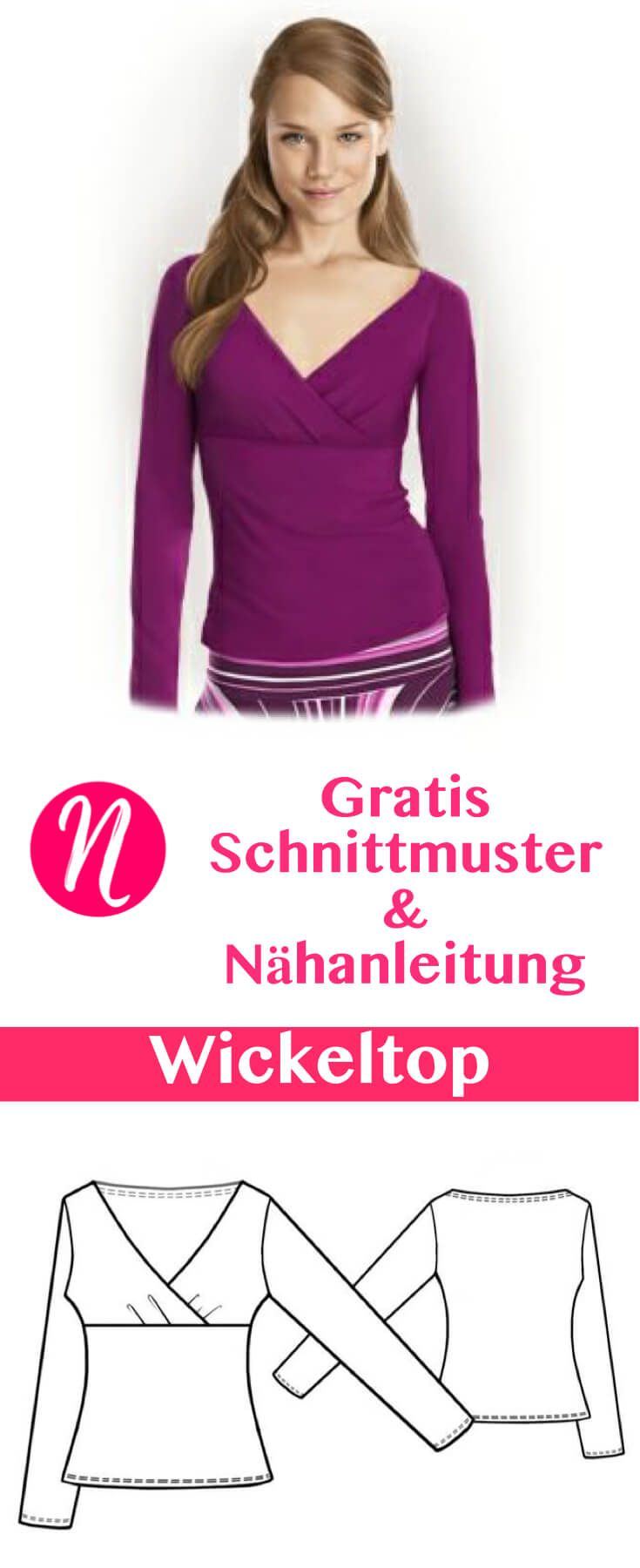 Wickeltop aus Jersey | Sewing patterns, Sewing projects and Patterns