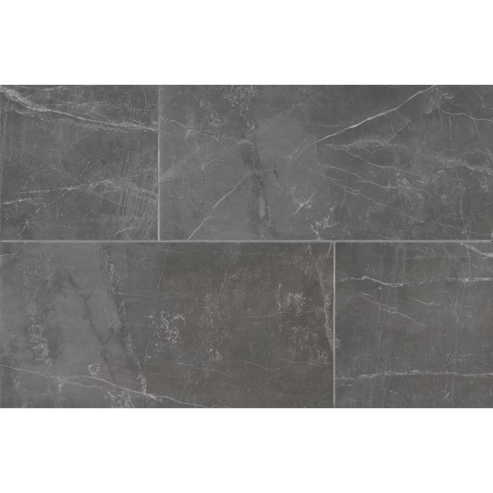 Msi Pulpis Anthracite 12 In X 24 In Glazed Porcelain Floor And Wall Tile 2 Sq Ft Nhdpulant1224 T Porcelain Flooring Stone Look Tile Floor And Wall Tile