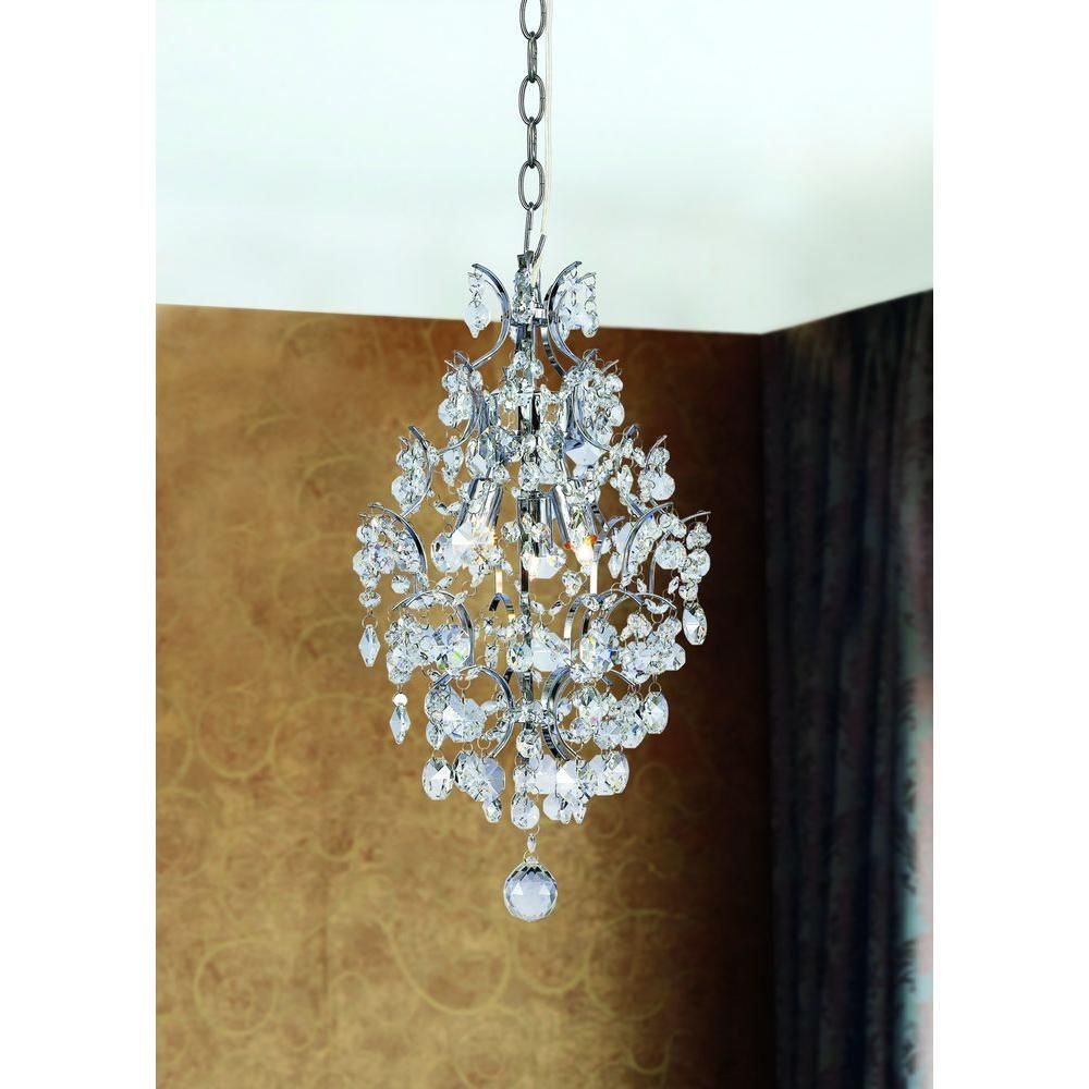 Hampton Bay 3 Light Chrome Crystal Branches Pendant 1000051534 The Home Depot