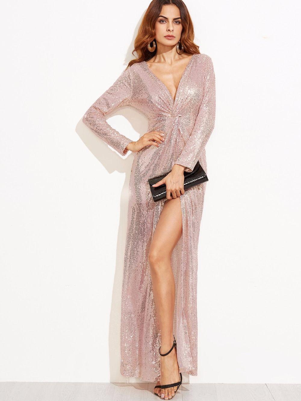 Women elegant bodycon maxi sequined dress sexy deep v neck full