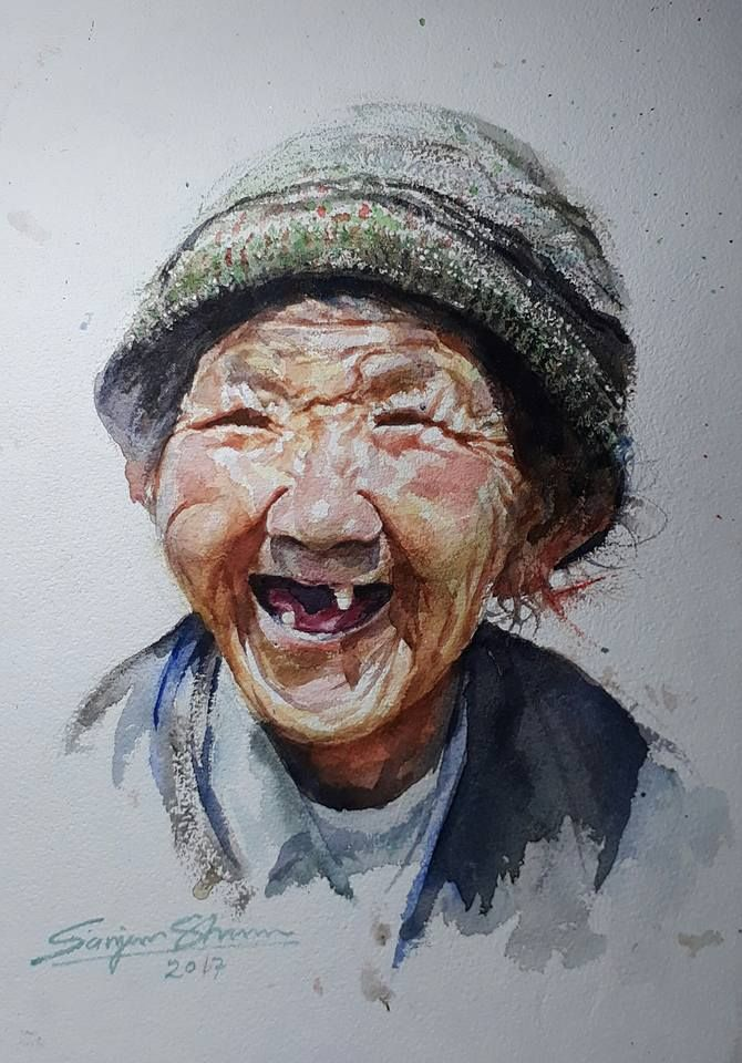 Laughing old woman watercolor by sanjeev sharma jaipur india