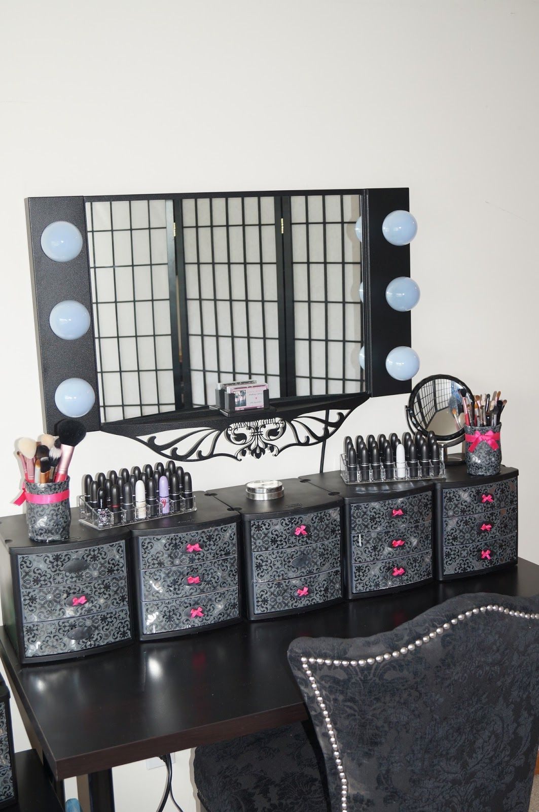 Decorate plastic drawer to make your own make up table for Beauty table organiser
