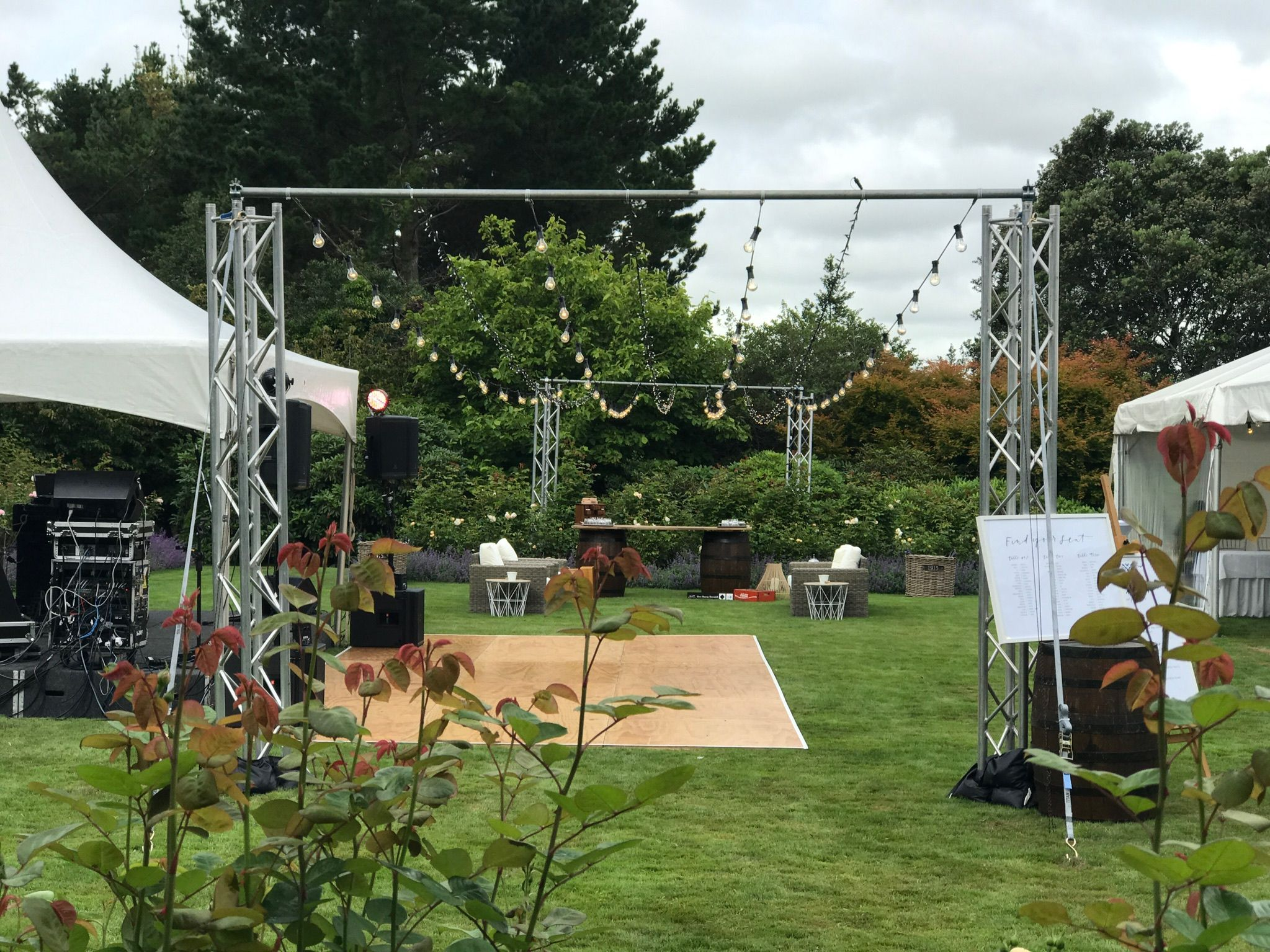 our amazing free standing festoon u0026 fairylights rig spanning