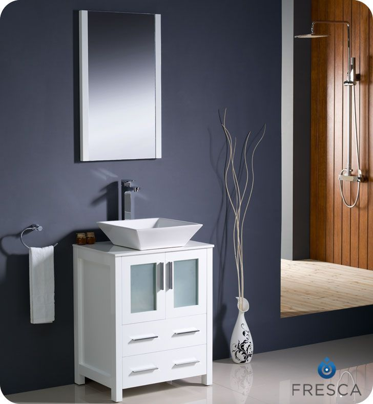 Torino 24-inch W Vanity in White Finish with Vessel Sink Bathroom