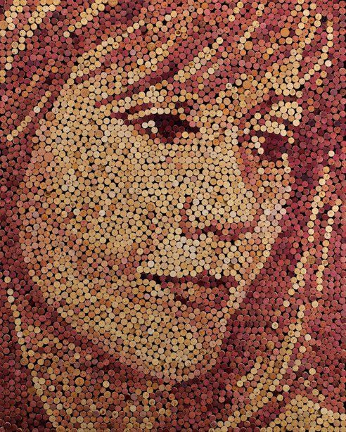 Beautiful portraits created with wine-soaked corks! © Scott Gundersen