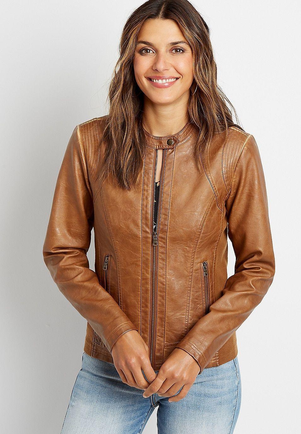 Caramel Basic Faux Leather Jacket Colorful Leather Jacket Faux Leather Jacket Women Leather Jackets Women [ 1380 x 956 Pixel ]