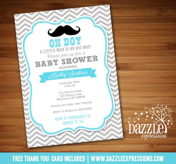 Printable Little Man Mustache Baby Shower Invitation Baby Boy
