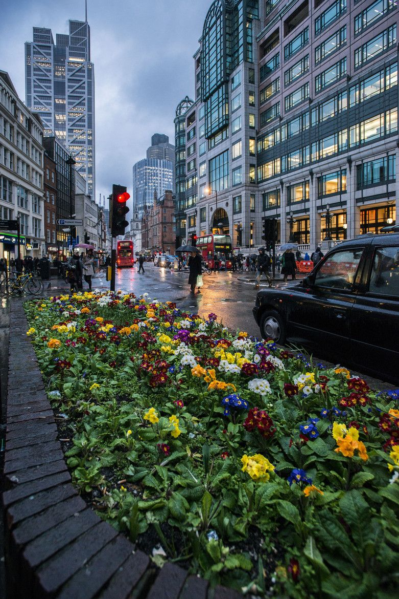 Liverpool Street, London, England on a rainy day, which is oh so typical for this city