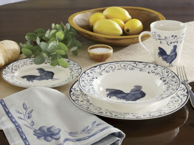 16-Piece Rooster Toile Dinnerware Set from Through the Country Door ...