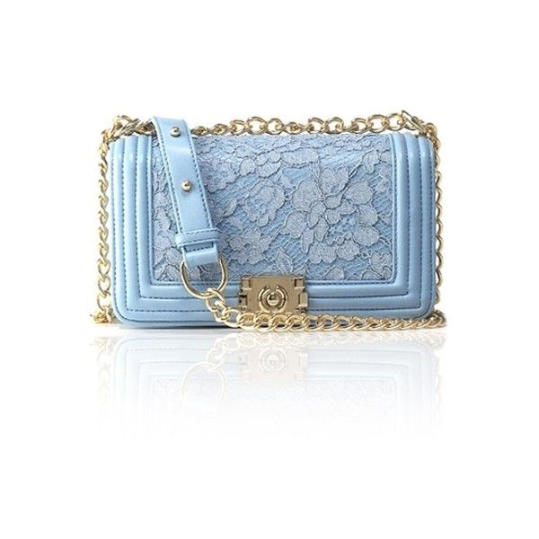 Lace Solid Color Chain Crossbody Bag ($26) ❤ liked on Polyvore featuring bags, handbags, shoulder bags, purses, zaful, blue crossbody purse, crossbody handbags, handbags purses, man bag and shoulder handbags